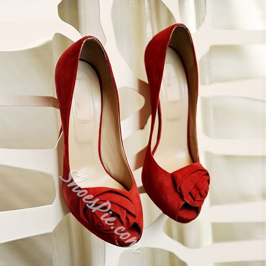 Shoespie Red Flower Embellished Peep Toe Heels