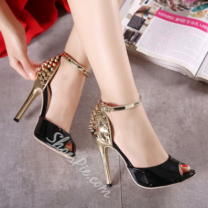 Shoespie Stylish Rivets Peep Toe Stiletto Heels