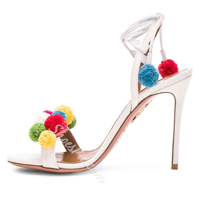 Shoespie Colorful Fur Balls Dress Sandals