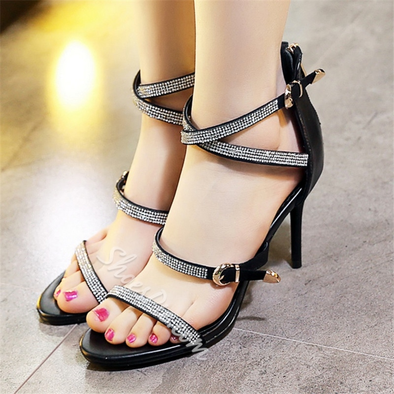 Shoespie Black Strappy Dress Sandals