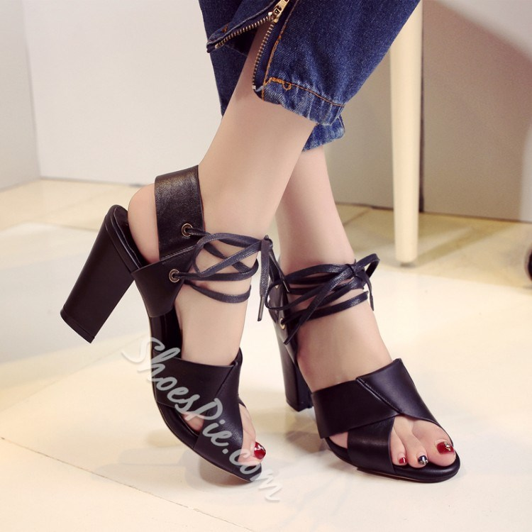 Shoespie New Arrival Lace Up Chunky Heel Sandals