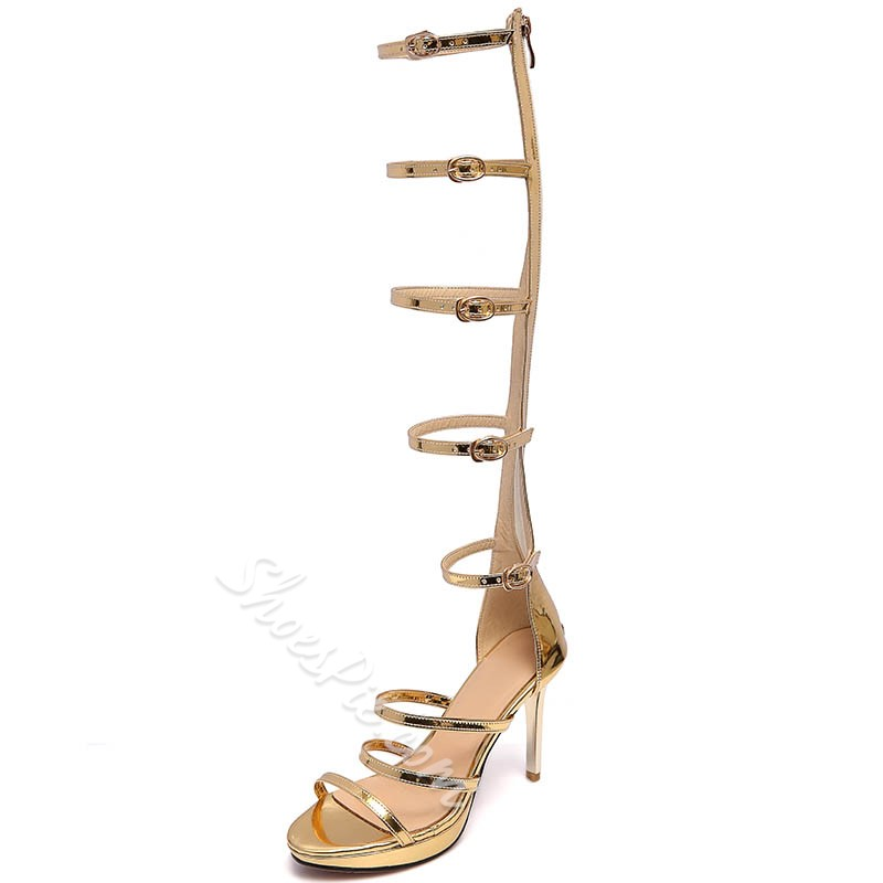 Shoespie Strappy Zipped Gladiator Sandals