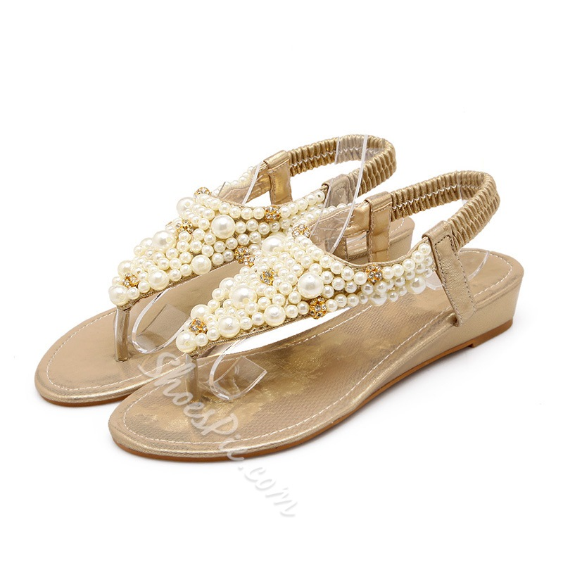 Shoespie Luxurious Pearls Beading Thong Flat Sandals