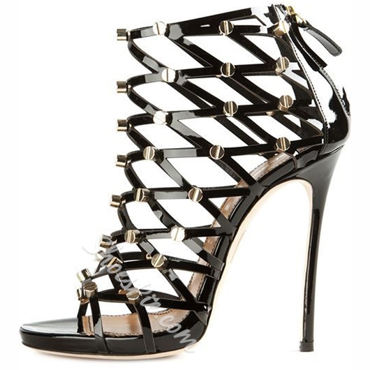Shoespie Black Flat Rivets Cage Sandals