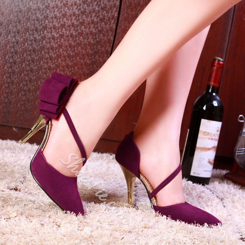 Shoespie Chic Side Bowtie Embellished Stiletto Heels