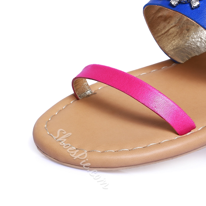 Shoespie Vibe Contrast Color Rhinestone Flat Sandals