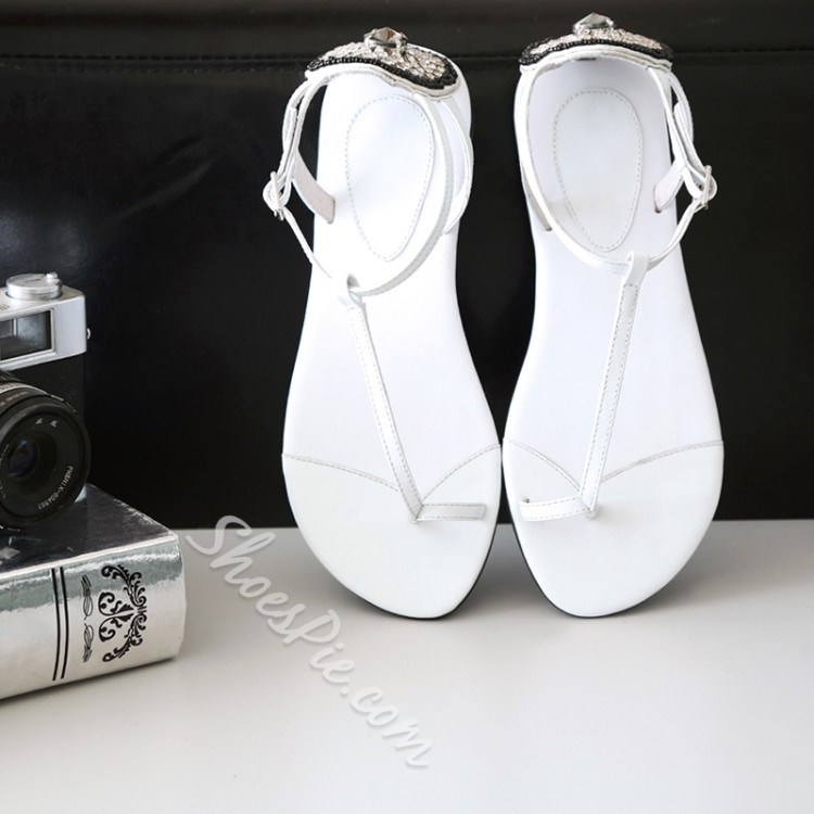 Shoespie Concise Style Rhinestone Flat Sandals