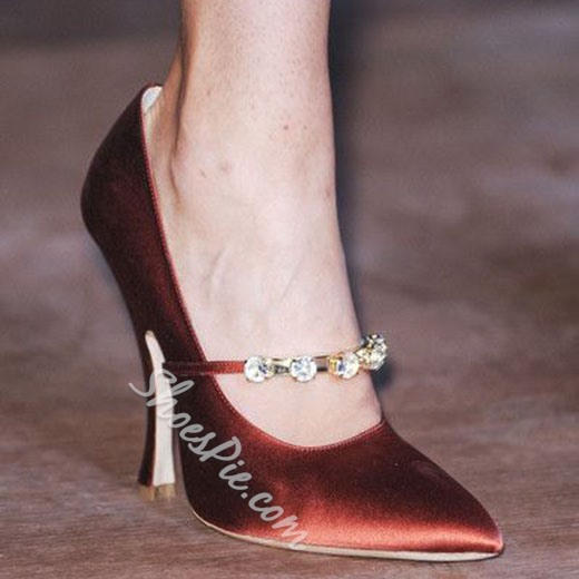 Shoespie Classy Burgundy Jewelled Stiletto Heels
