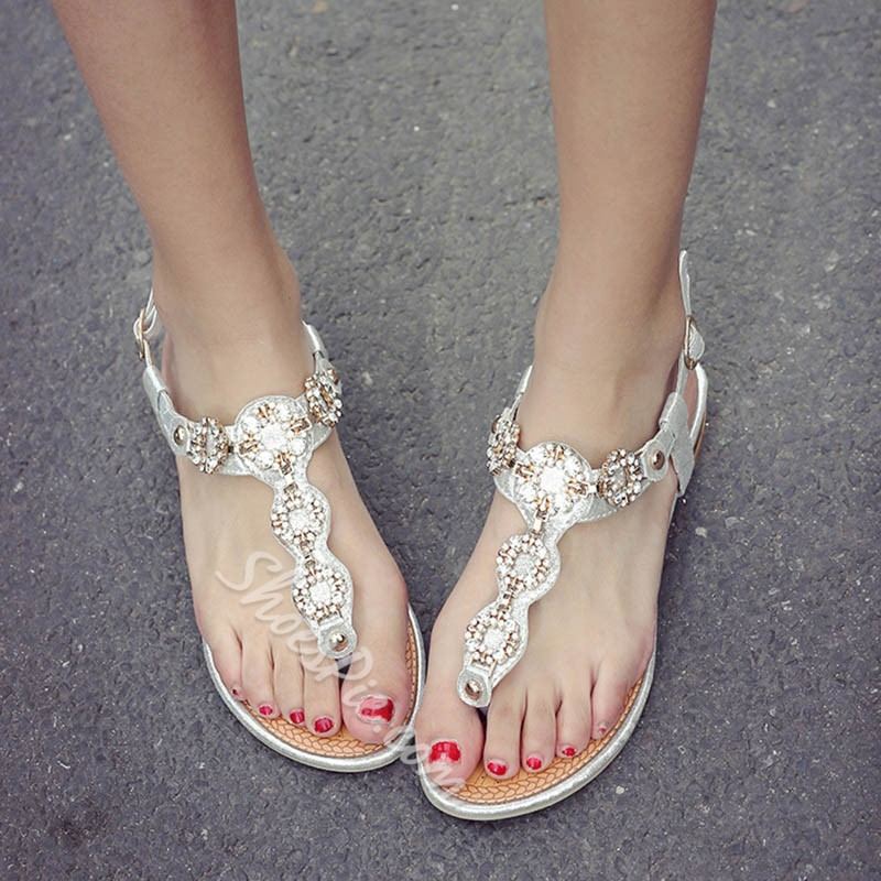 Shoespie Rhinestone Circles Flat Sandals