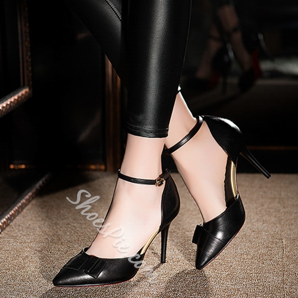 Shoespie Classy Pointed Toe Ankle Wrap Stiletto Heels