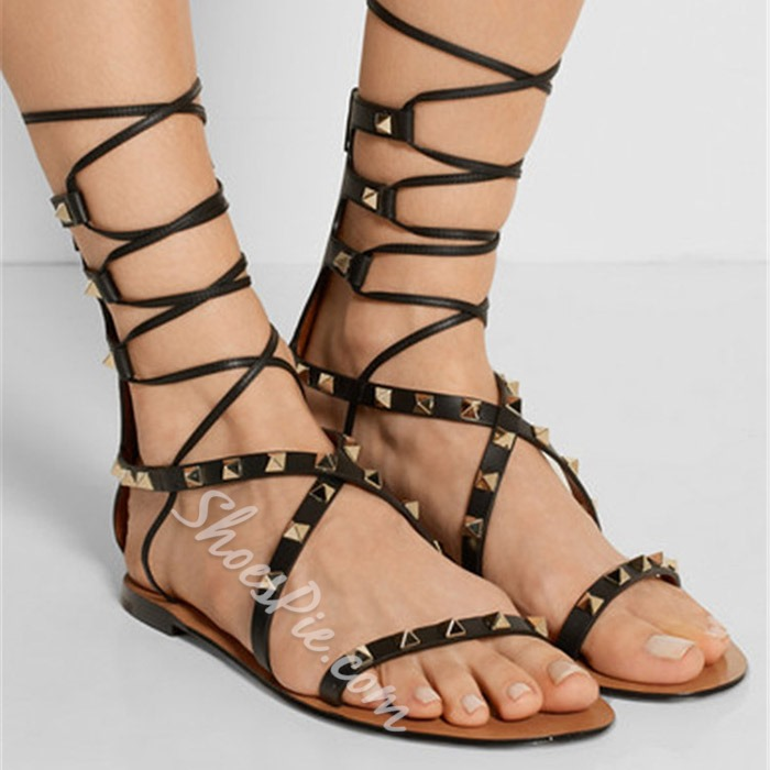 Shoespie Rivets Lace Up Gladiator Flat Sandals