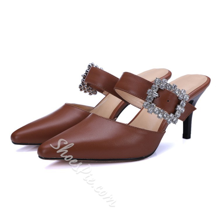 Shoespie Rhinestone Square Buckle Pionted Toe Mules Shoes