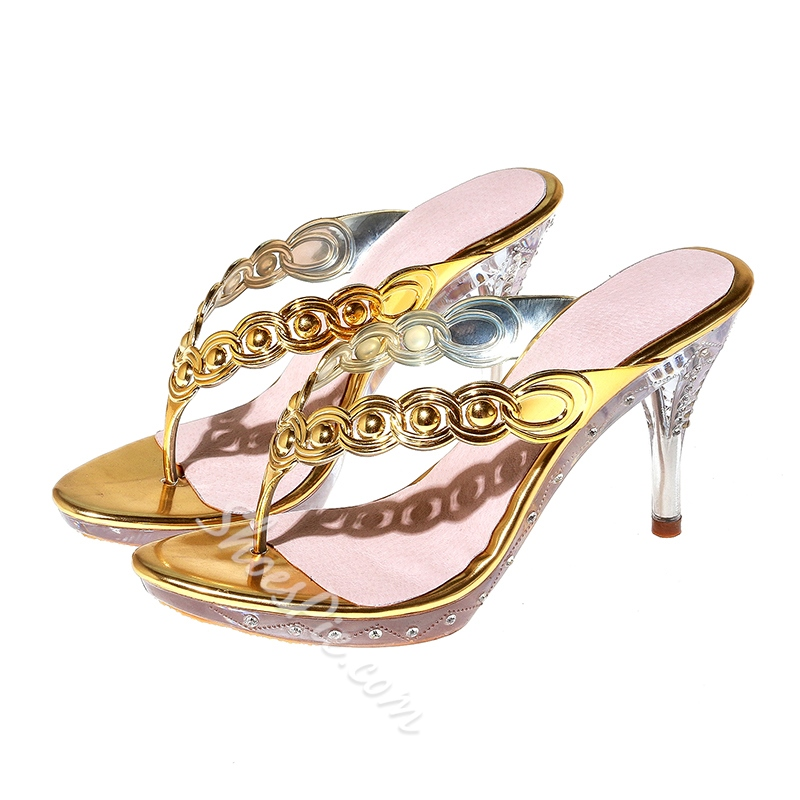 Shoespie Stylsih Golden Thong Mules