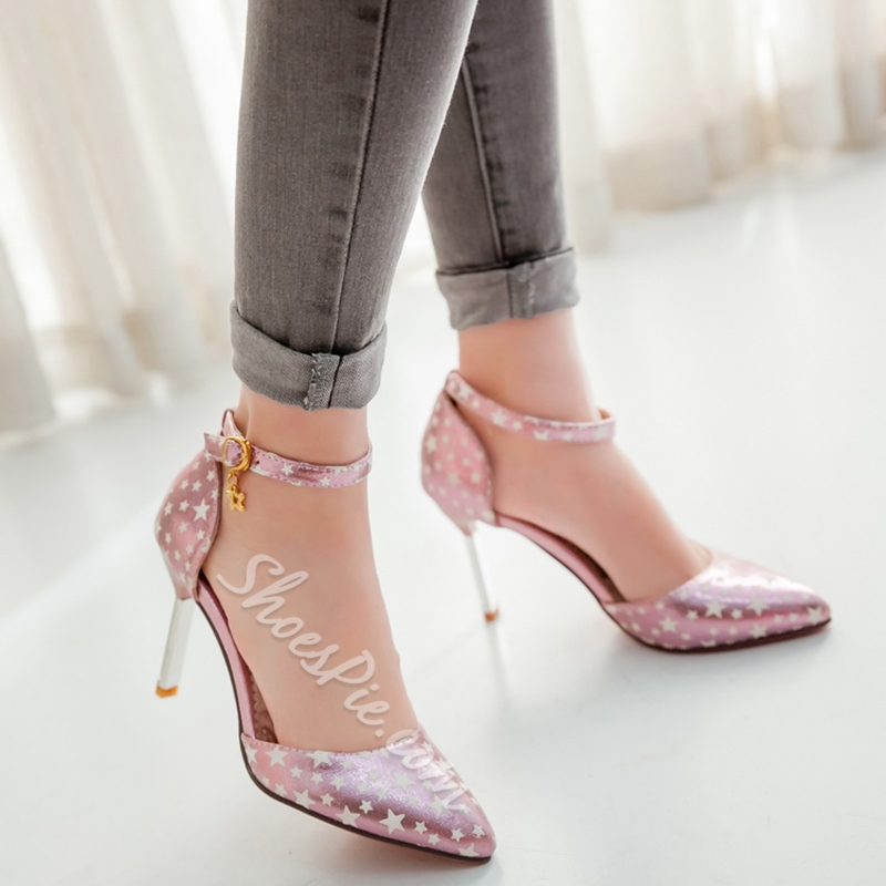 Shoespie Star Printed Ankle Wrap Stiletto Heels