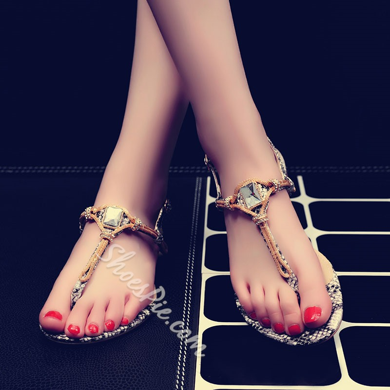 Shoespie Knots And Square Rhinestone Thong Flat Sandals