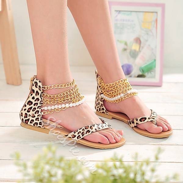 Shoespie Leopard Chains And Beading Ankle Wrap Thong Flat Sandals