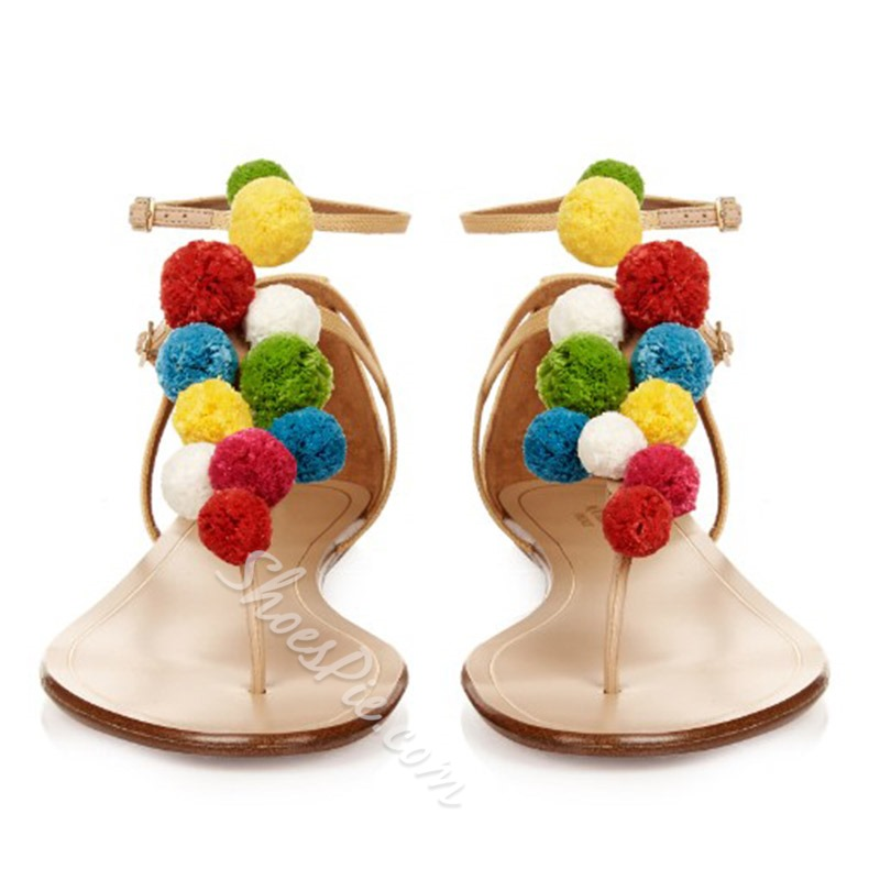 Shoespie Colorful Fur Balls Flat Sandals