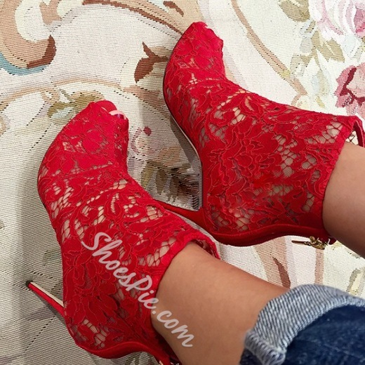 Shoespie Gorgeous Lace Peep Toe Stiletto Heel Ankle Boots