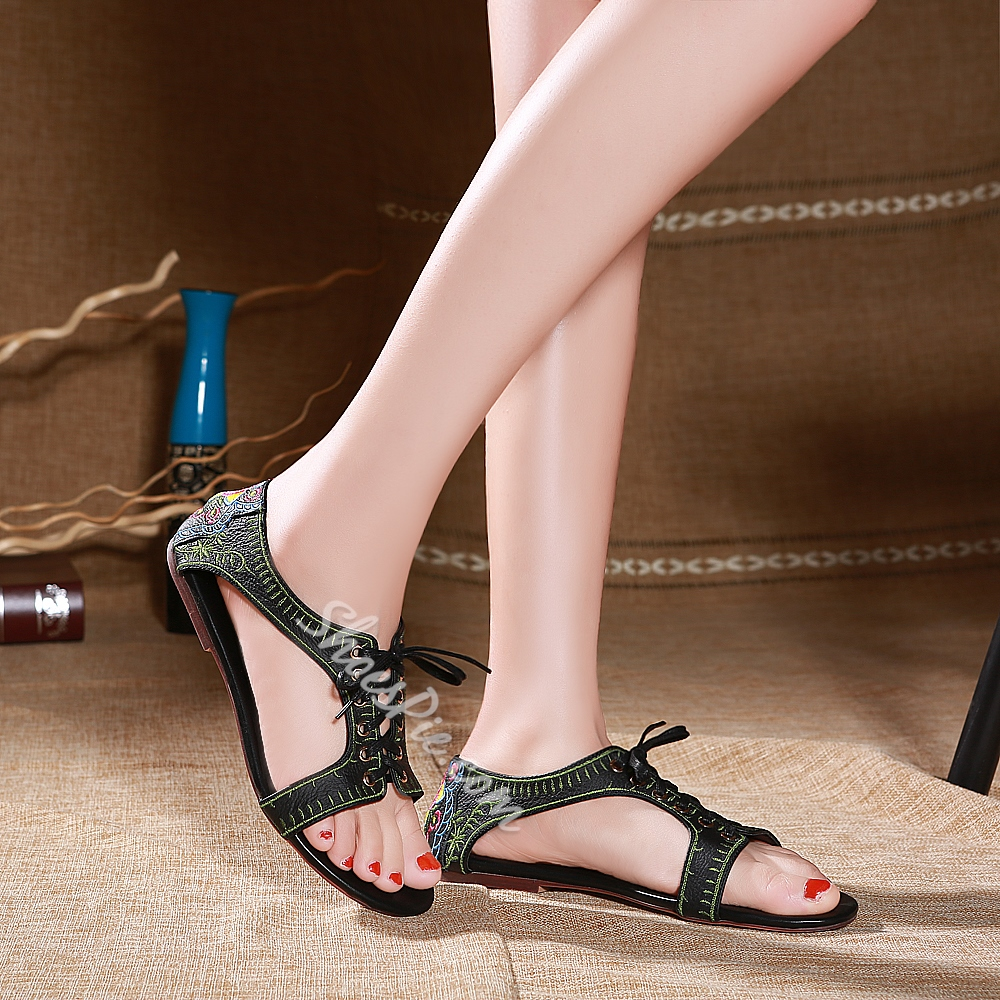 Shoespie Chinese Embroidery Flat Sandals