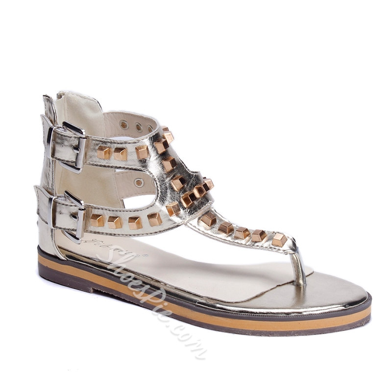 Shoespie Square Rivets Thong Flat Sandals