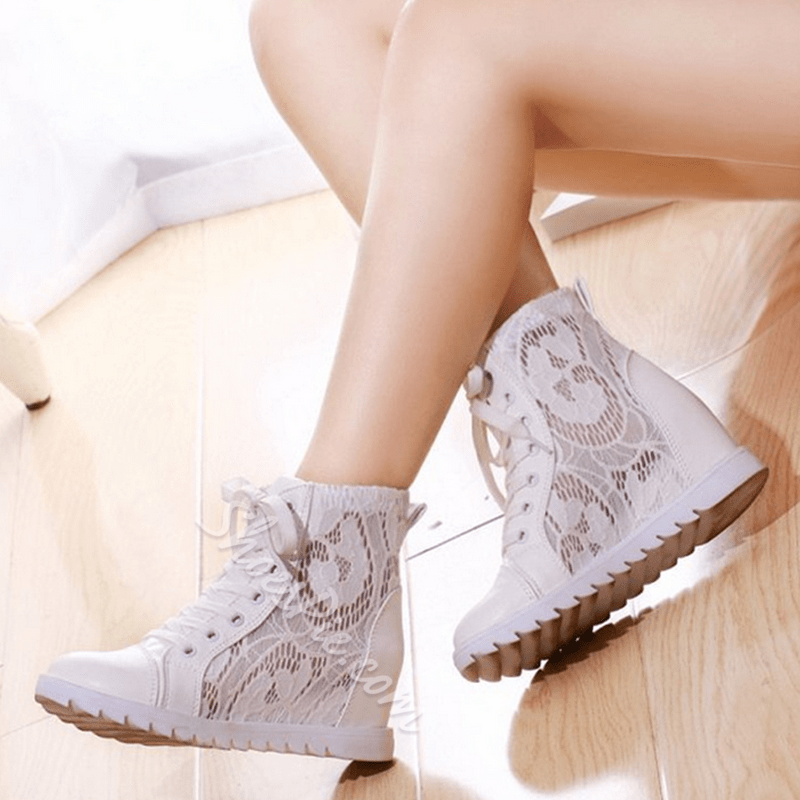 Shoespie White Lace Sneakers