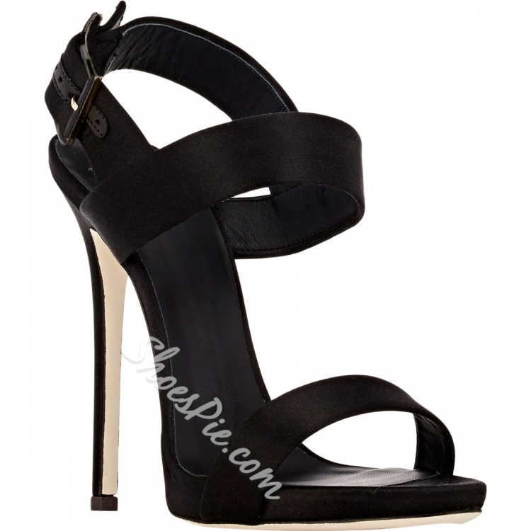 Shoespie Black Square Buckle Dress Sandals