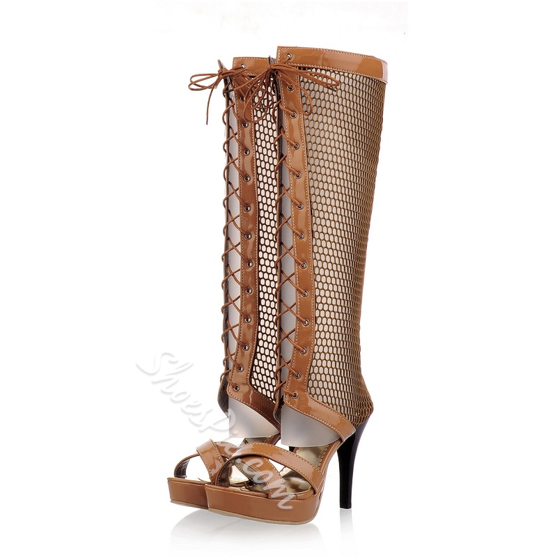 Shoespie Mesh Lace Up Platform Sandal Boots