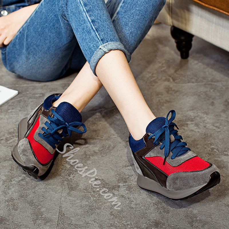 Shoespie Color Block Elevator Sneakers