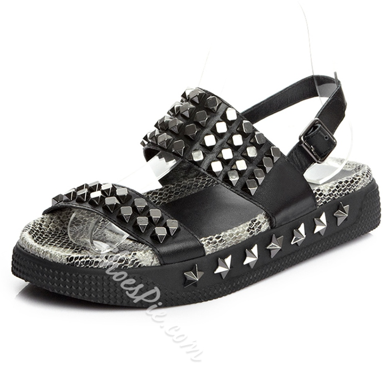 Shoespie Black Punk Rivets Fkat Sandals