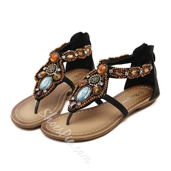 Shoespie Exotic Gemstones Thong Flat Sandals