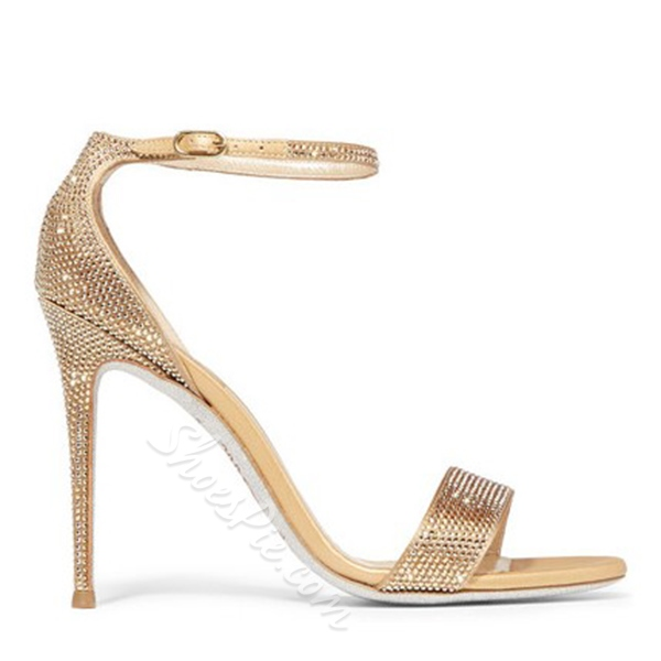 Shoespie Golen Glittering Dress Sandals