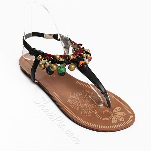 Shoespie Colorful Bells Thong Flat Sandals