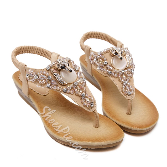 Shoespie Cute Fox Beading Thong Flat Sandals
