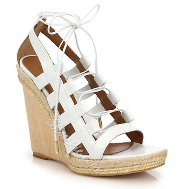 Shoespie Designer Lace Up Wedge Sandals