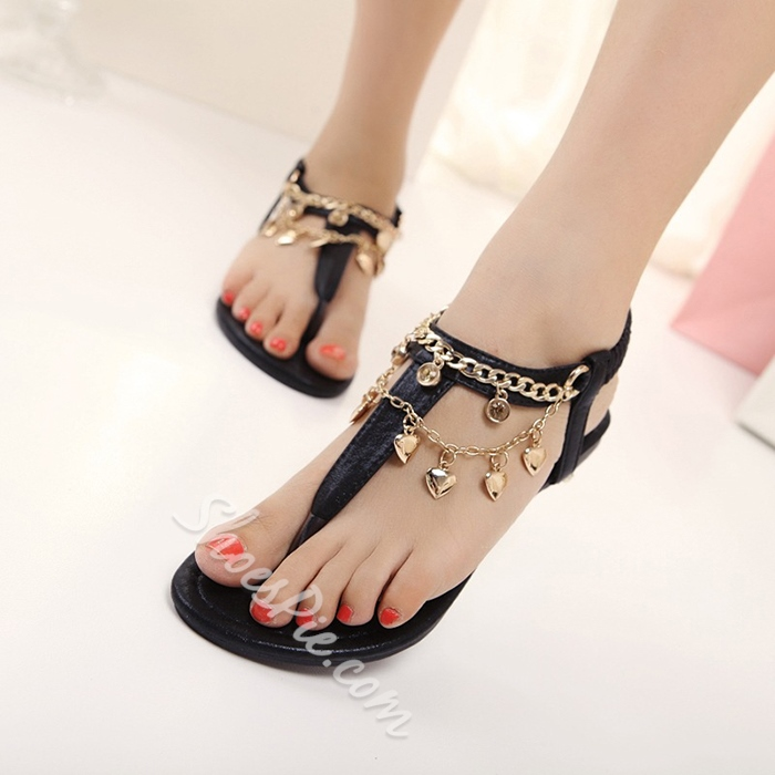 Shoespie Charms Thong Flat Sandals