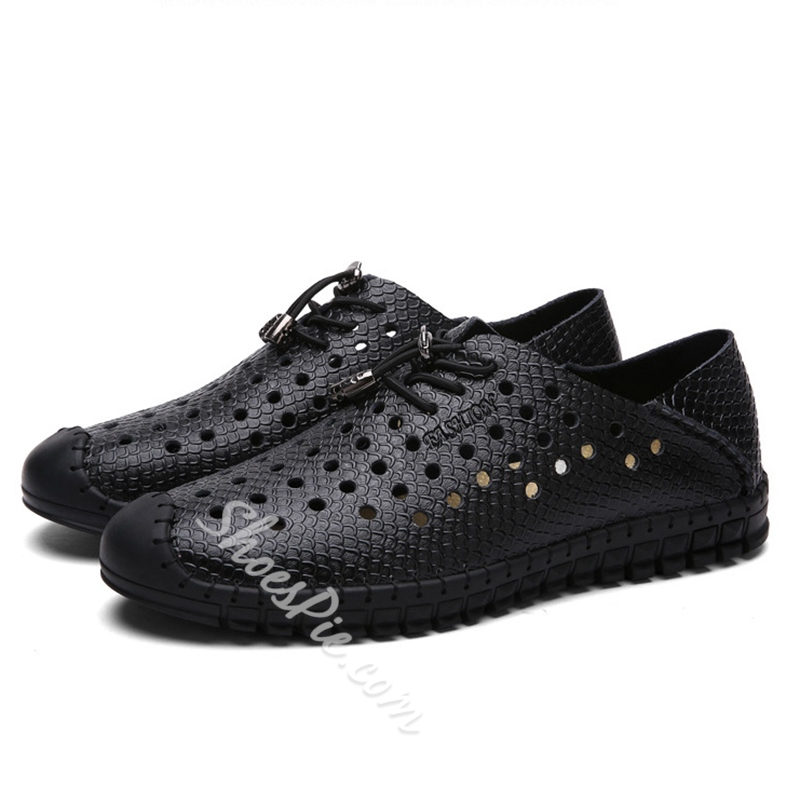 Shoespie Cutout Holes Lace Up Men's Loafers