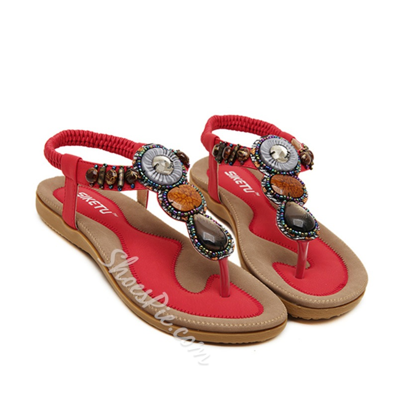 Shoespie Stones Thong Flat Sandals