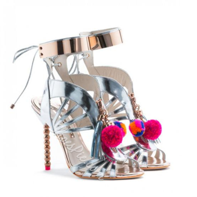 Shoespie Fur Balls and Fringes Decorated Dress Sandals