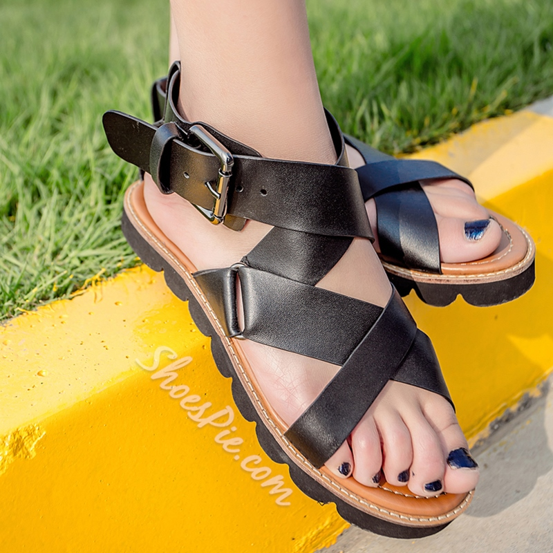 Shoespie Black Genuine Leather Wide Strappy Flat Sandals