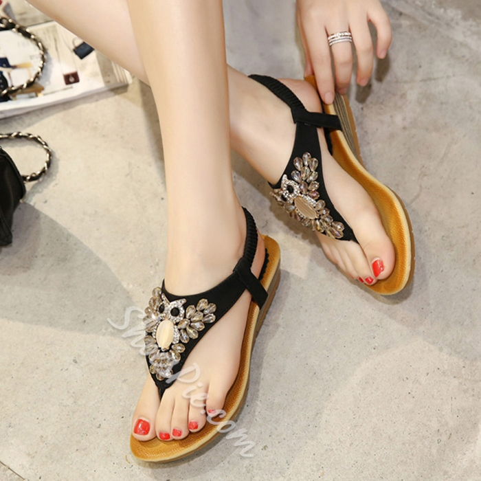 Shoespie Cute Night Owl Thong Flat Sandals
