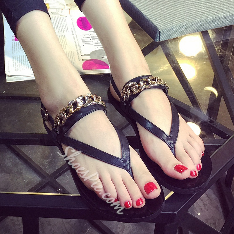 Shoespie Flat Chains Thong Flat Sandals