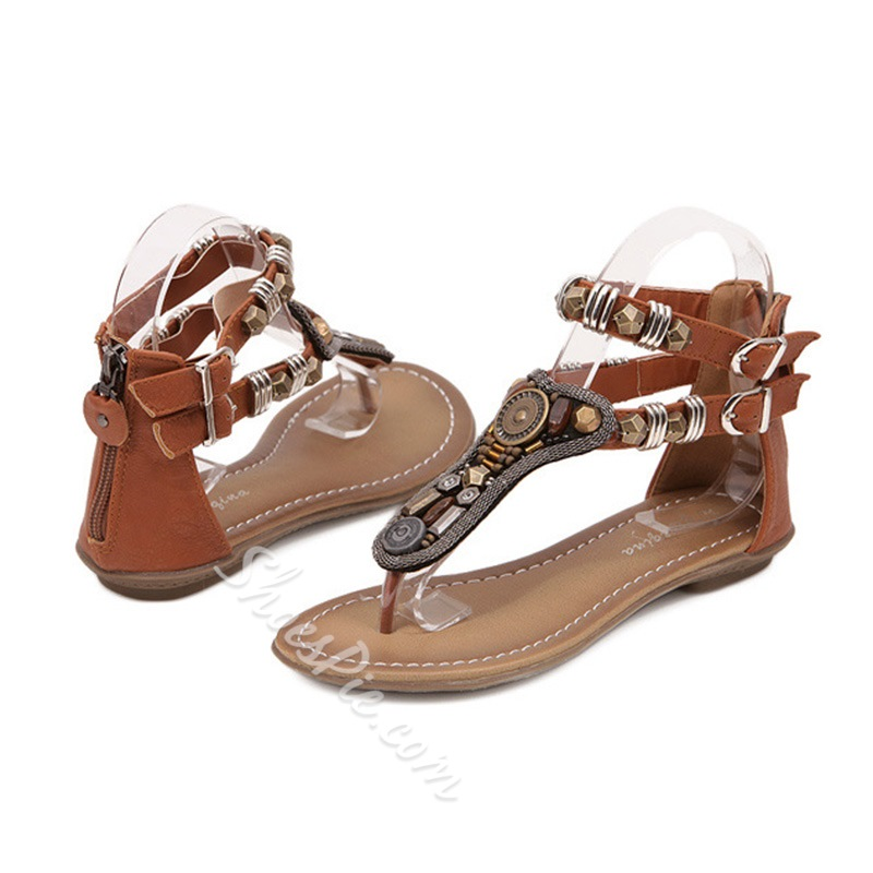 Shoespie Charms and Stones Thong Flat Sandals