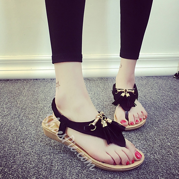 Shoespie Cute Fringes Thong Flat Sandals