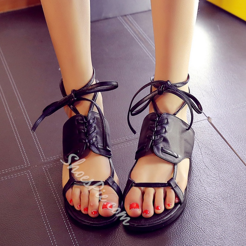 Shoespie Unique Black Lace Up Flat Sandals