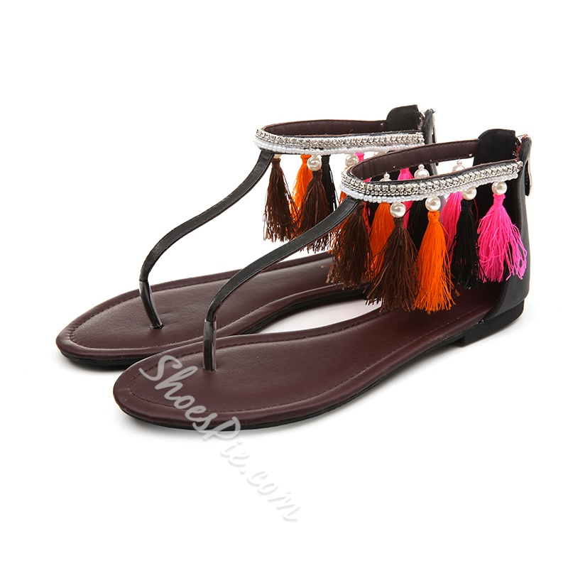 Shoespie Colorful Fringe Thong Flat Sandals