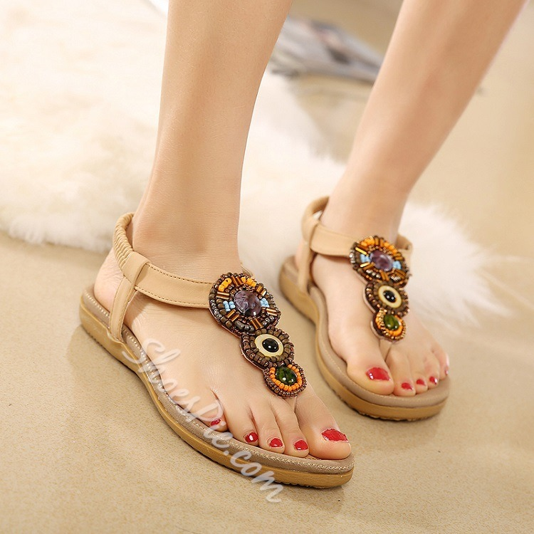 Shoespie Stones and Beads Thong Flat Sandals