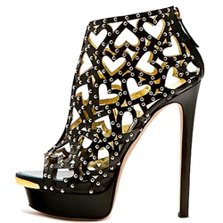 Shoespie Black Heart Shape Cutout Caged Platform Sandals