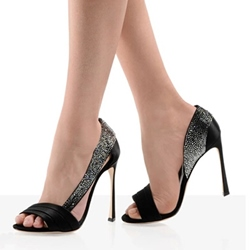 Shoespie Black Satin Slingback Dress Sandals
