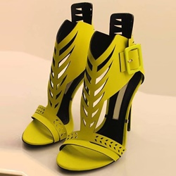 Shoespie Yellow Cutout Buckle Dress Sandals