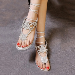 Shoespie Rhinestone Lace Up Flat Sandals